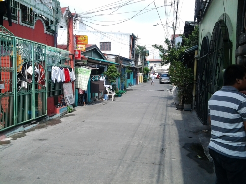 Juan Luna St-normally filled with people but empty this Sunday morning.