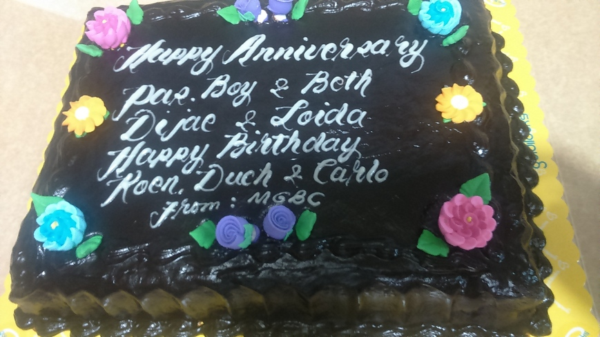 Yummy cake for October birthday and anniversary celebrators.